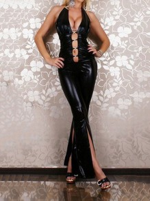 Black Halter Neck Front Slit Lace-up Backless Bodycon PU Leather Latex Halloween Party Long Jumpsuit