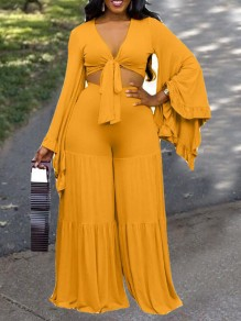 Yellow Irregular Flare Sleeve High Waisted Two Piece Wide Leg Long Jumpsuit