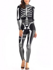 Black-White Skull The Vampire Halloween Costumes Skeleton Ghost Bride The Queen Long Jumpsuit