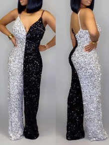 Black-White Patchwork Sequin Spaghetti Strap V-neck Sparkly Glitter Birthday Party Wide Leg Palazzo Long Jumpsuit