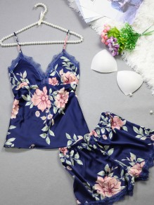 Dark Blue Patchwork Lace Satin Floral Spaghetti Strap 2-in-1 Shorts Pajamas Sets Jumpsuit Sleepwear