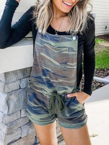 Camouflage Patchwork Pockets One Piece Overall Pants Elegant Short Jumpsuit