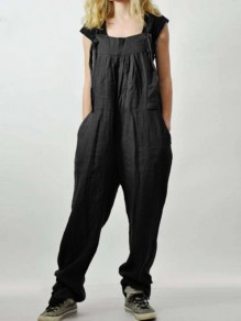 Black Patchwork Pockets Streetwear Overall Pants Fashion Long Jumpsuit