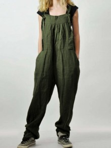 Army Green Patchwork Pockets Streetwear Overall Pants Fashion Long Jumpsuit