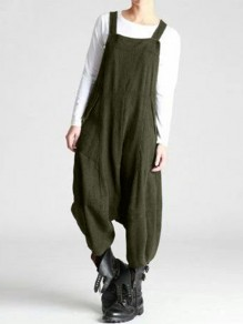 Army Green Patchwork Draped Streetwear Overall Pants Fashion Long Jumpsuit