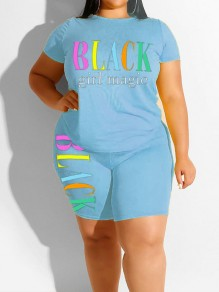 "Light Blue ""BLACK GIRL MAGIE"" Print Two Piece Plus Size Bodycon Casual High Waisted Short Jumpsuit"