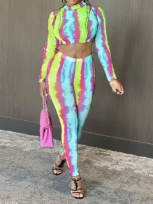 Green-Blue Tie Dyeing Two Piece Bodycon Party High Waisted Long Jumpsuit
