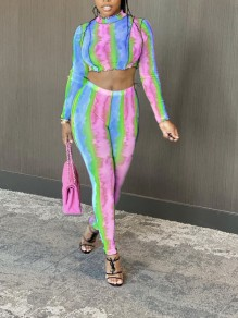 Blue-Red Tie Dyeing Two Piece Bodycon Party High Waisted Long Jumpsuit