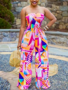 Red Color Block Off Shoulder Belt Backless Bohemian Beach Party High Waisted Wide Leg Palazzo Long Jumpsuit