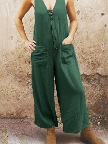 Green Patchwork Pockets Single Breasted Fashion Overall Pants Long Jumpsuit