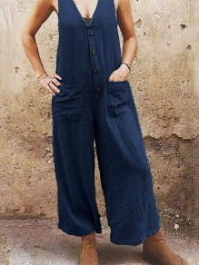 Dark Blue Patchwork Pockets Single Breasted Fashion Overall Pants Long Jumpsuit