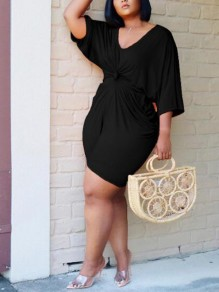 Black Draped High Waisted Two Piece 3/4 Sleeve Casual Short Jumpsuit