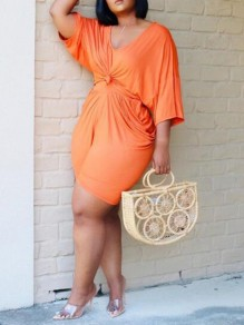 Orange Draped High Waisted Two Piece 3/4 Sleeve Casual Short Jumpsuit
