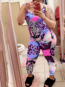 Blue Rainbow Leopard Print Bodycon Casual Sports High Waisted Long Jumpsuit