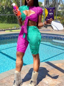 Lake Blue-Purple Monogram Bow Cut Out Two Piece Bodycon Casual Sports High Waisted Short Jumpsuit