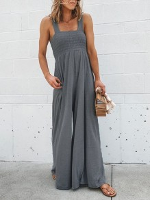Dark Grey Patchwork Wide Leg Overall Pants Fashion Jumpsuits