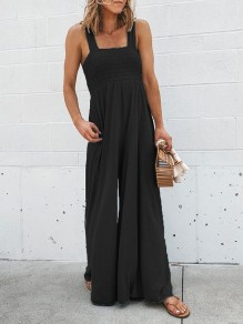 Black Patchwork Wide Leg Overall Pants Fashion Jumpsuits
