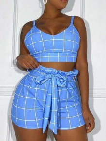 Blue-White Plaid Sashes Peplum High Waisted Two Piece Short Jumpsuit