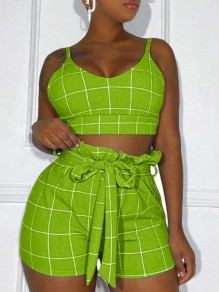 Green-White Plaid Sashes Peplum High Waisted Two Piece Short Jumpsuit