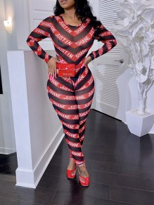 Red Striped Grenadine Bodycon Sheer Party Long Jumpsuit