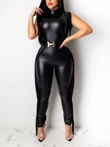 Black Tassel Bodycon PU Leather Latex Rubber Party Long Jumpsuit