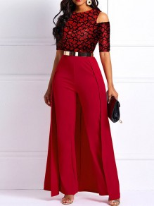 Red Floral Overlay Elegant Party Wide Leg Palazzo Long Jumpsuit