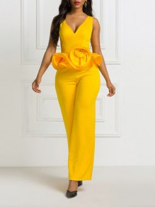 Yellow Cascading Ruffle V-neck Elegant Party Wide Leg Palazzo Long Jumpsuit