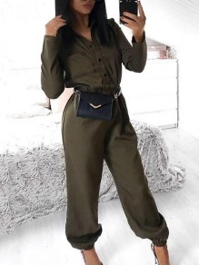 Army Green Patchwork Pocket Buttons Belt Turndown Collar Long Sleeve Fashion Lounge Wear Jumpsuits