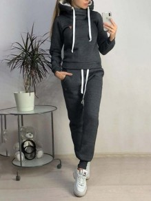 Black Patchwork Pockets 2-in-1 Hooded Long Sleeve Sports Jumpsuits