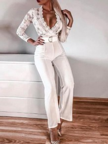 White Patchwork Lace Belt Deep V-neck Elegant Wedding Party Wide Leg Long Jumpsuit