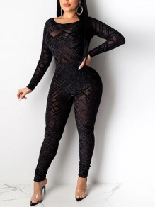 Black Patchwork Grenadine Cut Out Backless One Piece Bodycon Long Jumpsuit