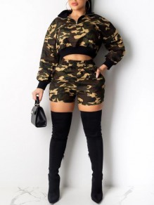 Army Green Camouflage Pattern Pockets Turndown Collar High Waisted Two Piece Short Jumpsuit