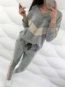 Grey Patchwork Sequin Bodycon Comfy V-neck Going out Jumpsuit