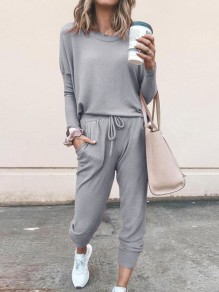 Light Grey Patchwork Drawstring Two Piece Round Neck Elegant Long Jumpsuit