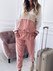 Pink Patchwork Zipper Two Piece Hooded Sports Long Jumpsuit