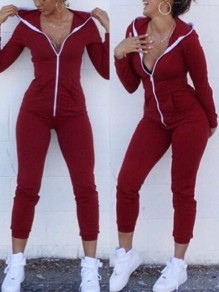 Red Patchwork Zipper One Piece Bodycon Casual Sports Hooded Long Jumpsuit