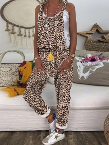 Khaki Leopard Pockets Cross Back High Waisted Casual Long Jumpsuit Overall Suspender Pants