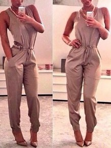 Grey Patchwork Pockets Drawstring Club Lace-up Bodycon Mid-rise Fashion Jumpsuits