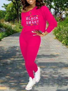 """Rose Carmine Monogram """"BLACK AND SMART"""" Print Off One Shoulder Long Sleeve Two Piece High Waisted Casual Long Jumpsuit"""