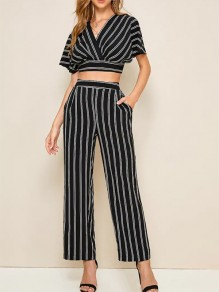 Black Striped Pattern Two Piece Lace-up Plunging Neckline Going Out Jumpsuit Pants