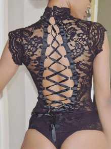 Black Patchwork Lace Tie Back One piece Band Collar Sheer Elegant Bodysuit Jumpsuit Lingerie