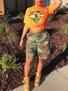 Yellow Camouflage Diamond Print Crop Round Neck Short Sleeve Two Piece Pockets Short Cargo Jumpsuits