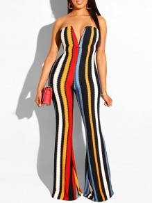 Rainbow Striped Bandeau V-neck Sleeveless Flare Bell Bottom Long Casual Jumpsuits