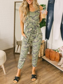 Green Camouflage Pockets Drawstring Sleeveless Fashion Long Jumpsuit