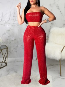 Red Sequin Bandeau Two Piece High Waisted Clubwear Glitter Sparkly Party Long Jumpsuits