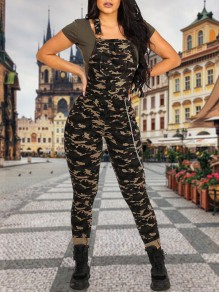 Camouflage Zipper Pockets Shoulder-Strap Chain Slim Long Overall Jumpsuits