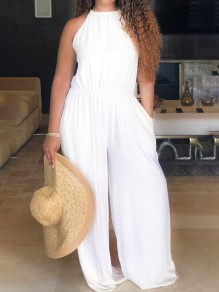 White Pockets Halter Neck Round Neck Sleeveless Wide Leg Casual Long Jumpsuits