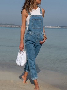 Blue Pockets High Waisted Casual Jeans Overall Suspender Overall Denim Long Jumpsuit