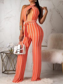 Neon Orange-White Striped Halter Neck Backless Belt Deep V-neck Bocysuit Clubwear Wid Leg Long Jumpsuits