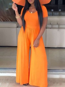 Neon Orange Round Neck Short Sleeve Big Flare Bell Bottom Beach Casual Jumpsuits